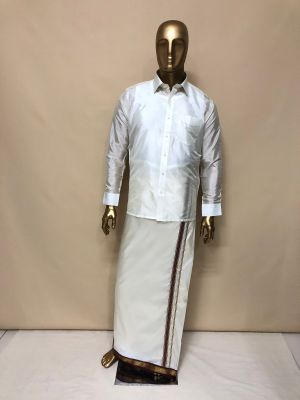 Art Silk Cream Dhoti with Maroon/Green (Mayilkan) Zari Border