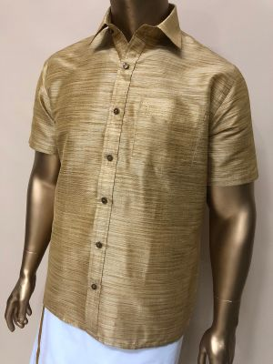 Art Raw Silk Stripes Golden Shirts Regular