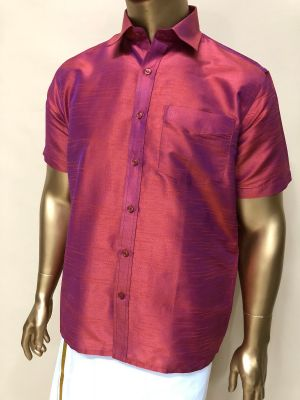 Art Raw Silk  Dark Peach Blend Shirts Regular