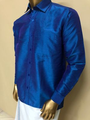 Art Raw Silk Medium Blue Shirts Regular