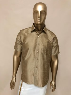 Art Raw Silk  Mustard Shirts Regular