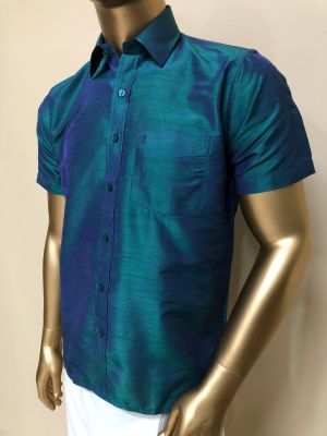 Art Raw Silk Peacock Blue Shirts Regular