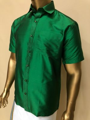 Art Soft Silk Dark Green Shirts Regular