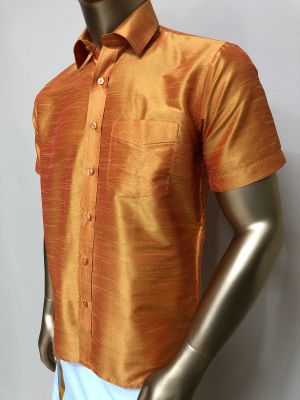 Art Raw Silk Golden Shirts Regular