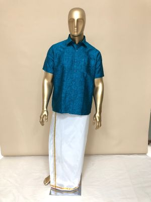 White Art Silk Velcro Dhoti with Gold Zari Border
