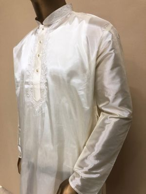 Cream Art Silk Kurta