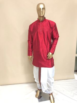 White Cotton Panchakatcham with Maroon/Green (Mayilkan) Zari Border