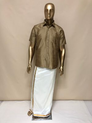 Cream Art Silk Velcro Dhoti with Gold Zari Border