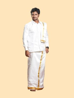 Silk White Angavastram with Gold Zari Border Regular Diamond