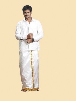 White Pure Silk Velcro Dhoti with Gold Zari Border