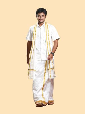 Silk White Dhoti with Gold Zari Border