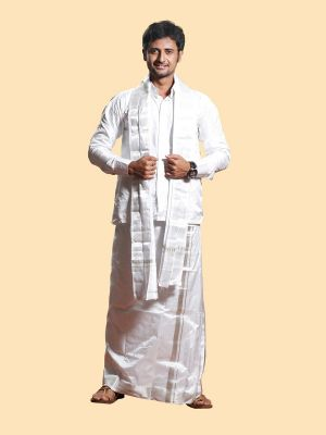 Silk White Angavastram with Silver Zari Border