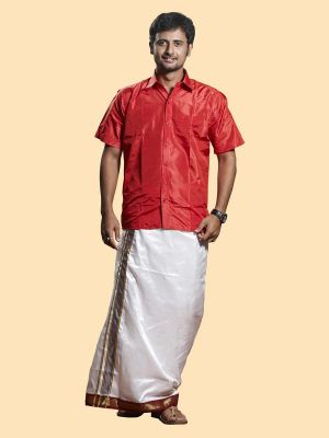 White Pure Silk Velcro Dhoti with Mayilkan Zari Border