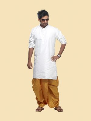 Pure Silk White Kurta