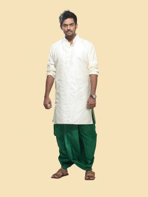 Pure Silk Cream Kurta