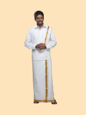White Cotton Velcro Dhoti with Gold Zari Border