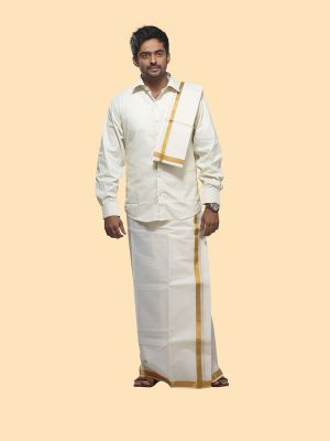 Cream Cotton Velcro Dhoti with Gold Zari Border