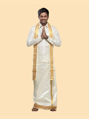 Silk Cream Dhoti with Gold Zari Border