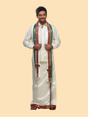 Cream Pure Silk Velcro Dhoti with Mayilkan Zari Border