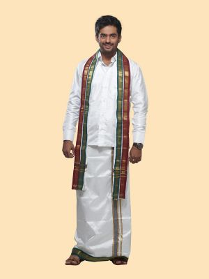 Silk White Angavastram with Mayilkan Zari Border